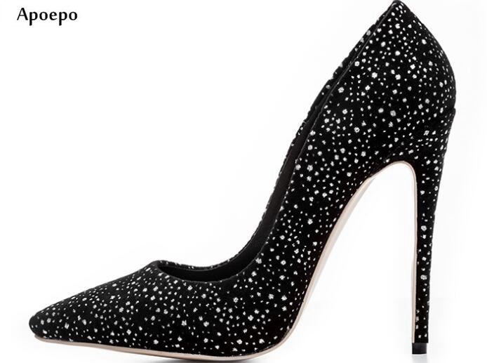 Apoepo Hot Selling Crystal Embellished High Heel Shoes 2018 Sexy Pointed Toe Stiletto Heels Woman Slip on Dress Shoes hot selling crystal embellished wedding heels sexy peep toe platform pumps woman high heel shoes
