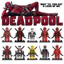 Deadpool Action Figure Marvel Super Heroes DIY Model Building Blocks Set Bricks Single Sale Lepin Educational