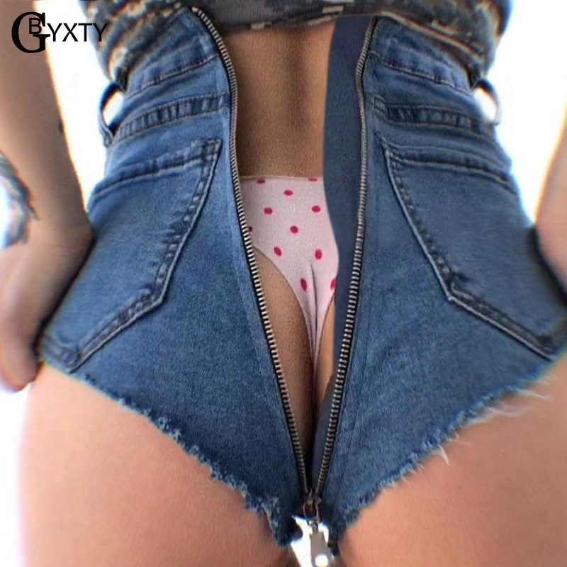 GBYXTY Women Summer Sexy Zipper in Back High Waist Denim   Shorts   Casual Tassel Wide Leg   Short   Jeans Mini   short   taille haute ZA468
