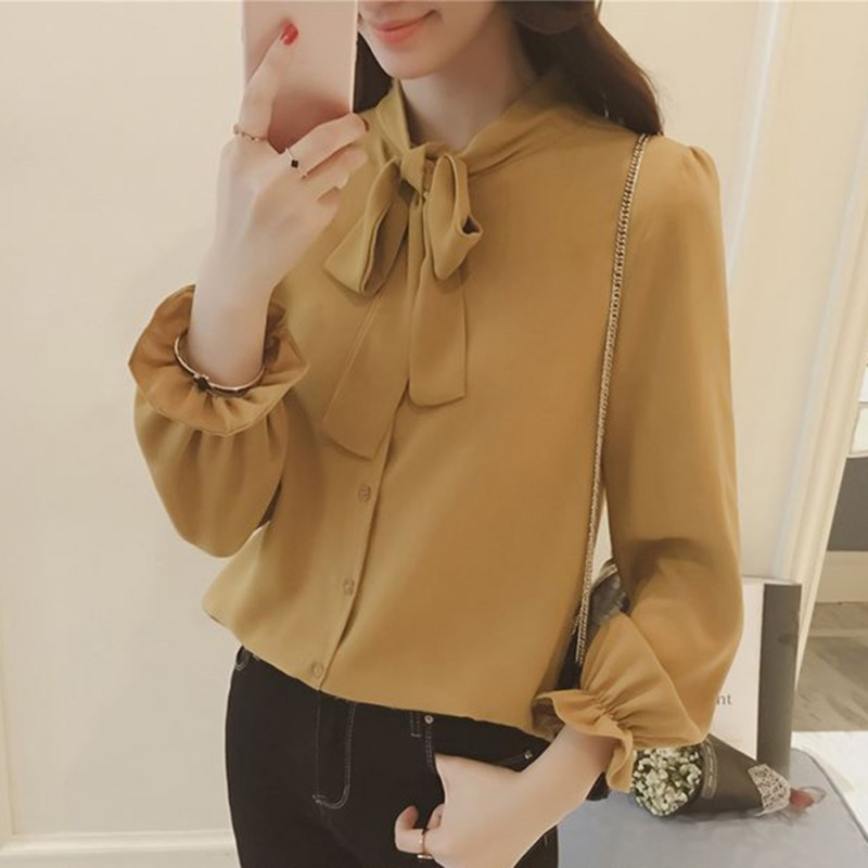 Women Sweet Bow Tie Neck Ruffles Chiffon Shirts Long Sleeve Loose Blouse Ladies Casual Tops Blusas Solid