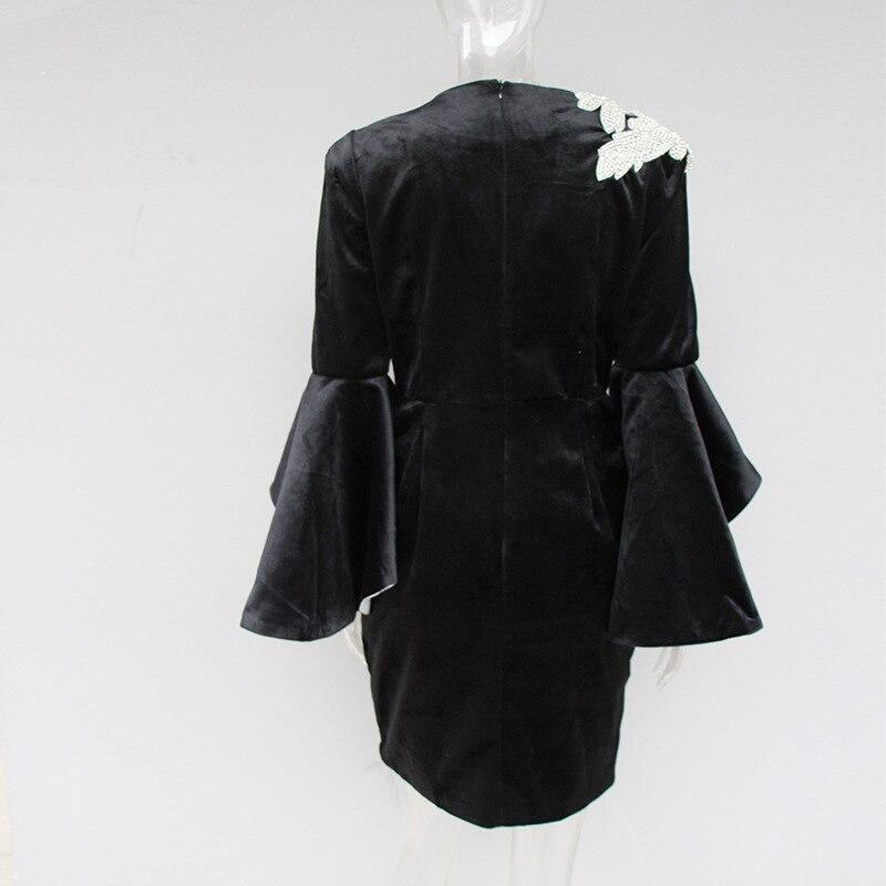 Femme Manches 2019 Printemps Robes Élégant Robe Velours Designer Vintage Diamants Parti Floral Mini Femmes T8xqrTP
