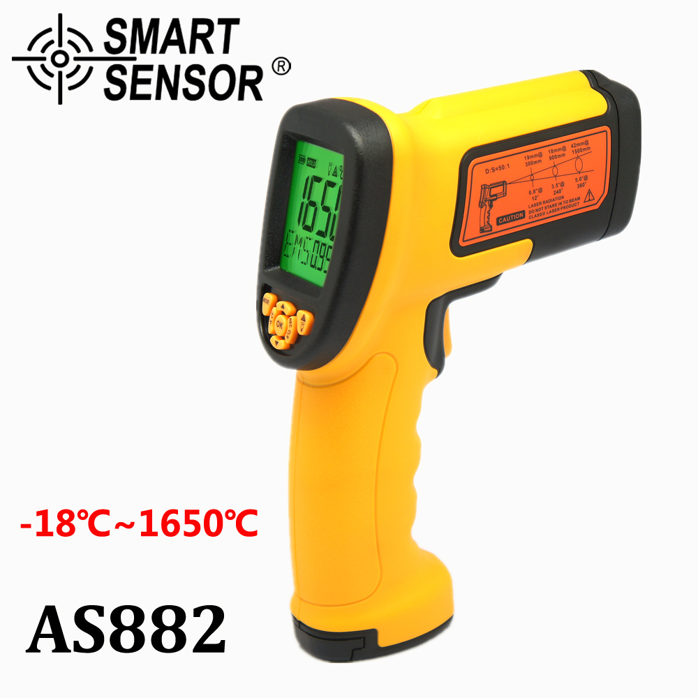 Smart Sensor AS882 Non-contact Laser LcdDisplay 50:1 Digital IR infrared thermometer Temperature Meter Gun Point -18~1650 Degree holdpeak hp 1320 digital laser infrared ir thermometer gun meter non contact 50 1500c temperature tester pyrometer