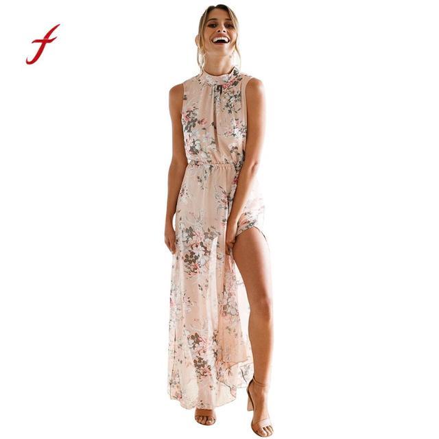 Women Formal Dress Chiffon Fl Print Sleeveless Backless Casual Boho Beach Long Maxi Vintage