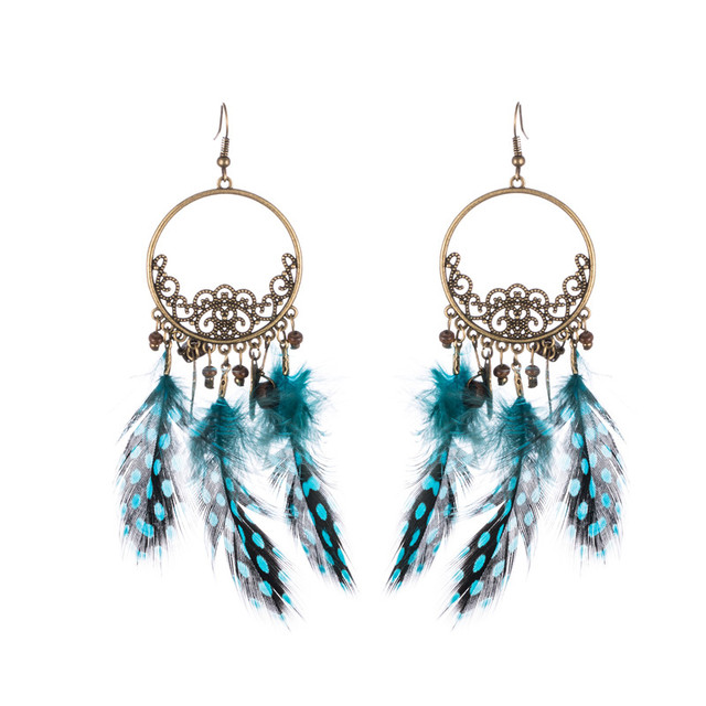 eee934bb4 Earrings Hanging Women Fashion With Natural Feather Tassel Drop Pendant  Earring Big Long Ring Ethnic Charms