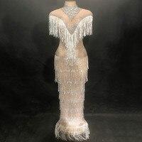 Пикантные платье на день рождения Белый кисточкой Женская одежда для ночного клуба вечерние Одежда для сцены костюм сверкающие Рождество О