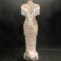 Сексуальное платье на день рождения белого цвета с бахромой Женская одежда для ночного клуба вечерние Одежда для сцены костюм сверкающие р