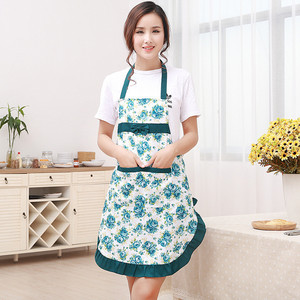 Image 4 - 1Pcs Bowknot Flower Pattern Apron Woman Adult Bibs Home Cooking Baking Coffee Shop Cleaning Aprons Kitchen Accessories 46002