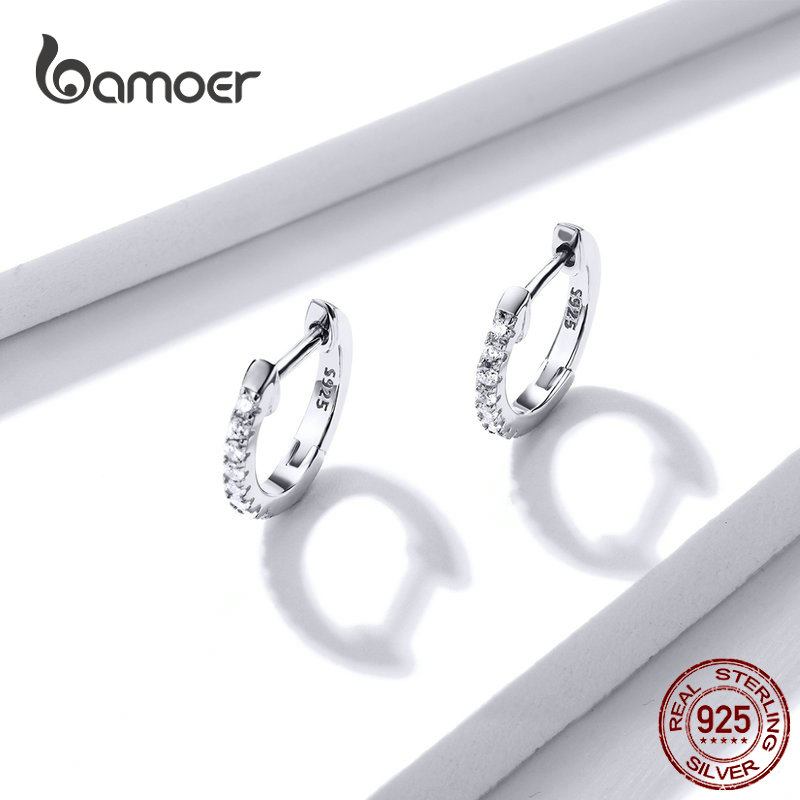 bamoer Authentic HOT SALE 6 Colors Circle Earrings for Women Silver 925 Gold Color Wedding Statement Jewelry Brincos SCE498 2