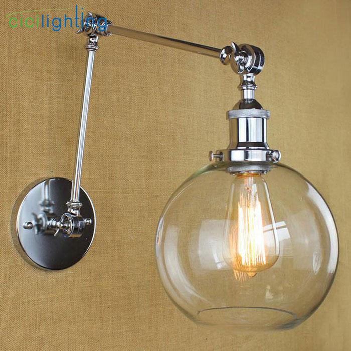 ③Black Chrome Bronze Gold swing arm Wall lights Globe glass ...