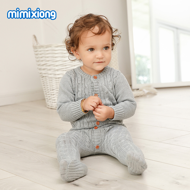 Baby   Rompers   Clothes Newborn Candy Color Knitted Toddler Kids Girls Jumpsuits Long Sleeve Infant Boys Overalls Children Outfits