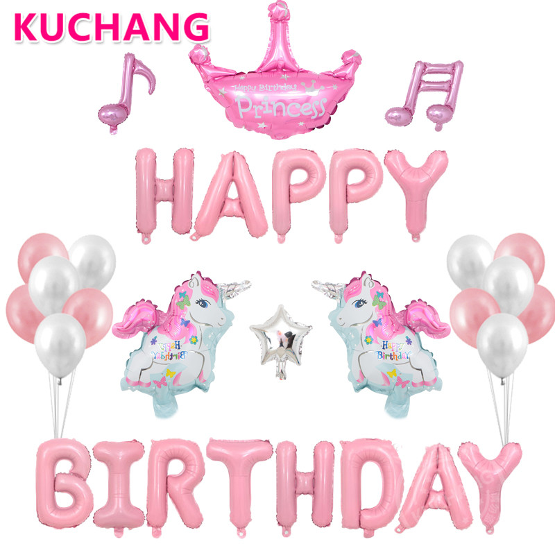Online Shop 31pcs/set Unicorn Party Supplies Foil Unicorn Balloons Kids Girls Birthday Party Decoration Princess Birthday Decorating Balloon | Aliexpress Mobile