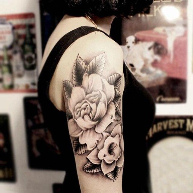 Temporäre Große Arm Tattoo Aufkleber Schwarz Weiß Blumen Body Art