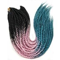 10packs Esprit Beauty Synthetic Senegalese Twist Braiding Hair Extensions 22 Black Purple Blue 3Tone Ombre Crochet