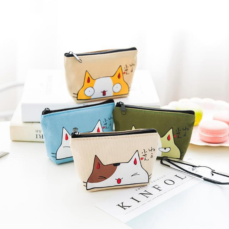 Kawaii Animal Cat Coin Purses Holders Women Cute Cartoon Canvas Pouch Children Wallet Small Keys Bag Carteira For Girl Kids Gift