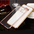 Ultra fino ouro rosa crystal clear case capa para samsung galaxy J5 J7 Telefone A8 A7 A5 A3 2016 Galvaniza Transparente Macio sacos