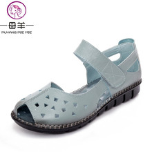 MUYANG MIE MIE women sandals fashion genuine leather soft women shoes woman casual flat sandals female comfortable sandals