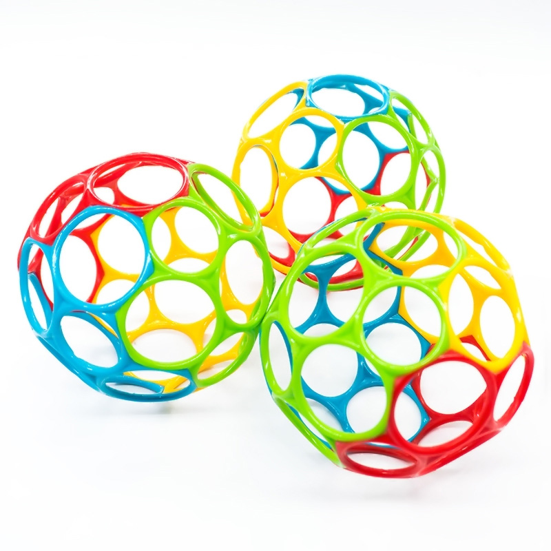 Teether Ball Oball Rattles Develop Baby Intelligence Grasping Gums Wave Ball Hand Bell Fun Bite Catch Hole Kids Toys For Newborn