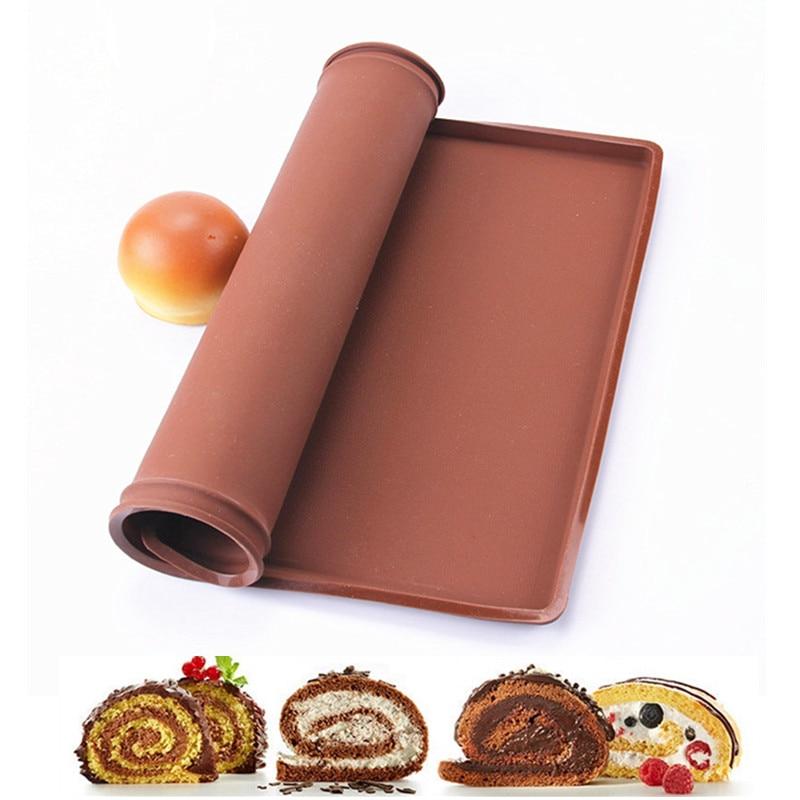 Големи размери 37 * 28CM незалепващ силиконов печене мат DIY Macaron хляб торта сладкиши десерт за правене на инструменти фурна швейцарска ролка подложка за печене