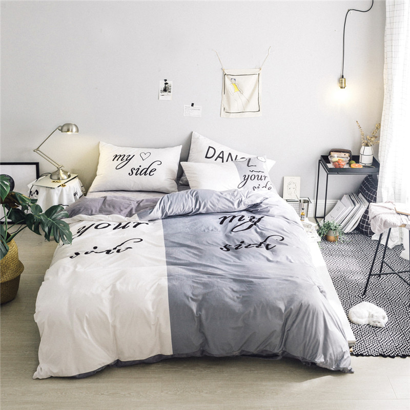 Black white Her Side His Side Winter bedding sets twin/queen Size double bed Fleece fabric Bed Linen Couples Duvet Cover Set