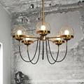 Vintage Industrial led pendant light with 5 glass ball, modern globe led pendant lamp black & gold for dining room living room