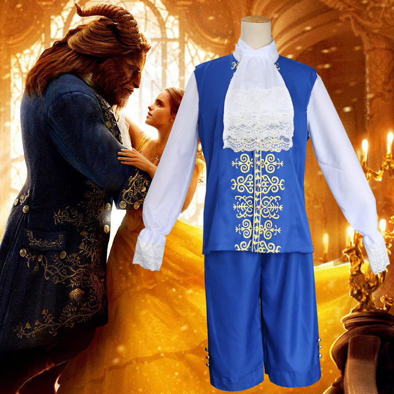 2017 Movie Beauty and The Beast Adult  Prince Cosplay Costume Halloween Men Vintage Costumes Outfit  Gentleman Blue Jacket