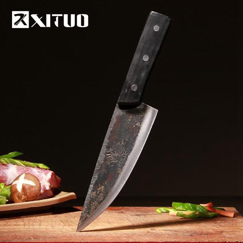 XITUO EDC couteau de cuisine utilitaire très pointu en acier tungstène pince acier couteau fait main 29 cm palissandre viande tranchage chef couteau outils-in Couteaux de cuisine from Maison & Animalerie    1