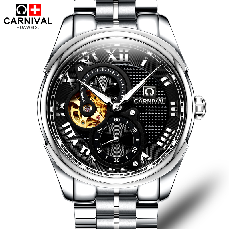 Carnival Fashion Automatic Mechanical Watches Mens Top Brand Luxury Full Steel Hollow Out Watch Men Male Clock erkek kol saati forsining full calendar tourbillon auto mechanical mens watches top brand luxury wrist watch men erkek kol saati montre homme