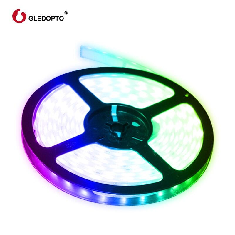 Gledopto RGB + CCT tira de luz LED rgb ww/cw DC12-24V 5 metros ip65 impermeable IP20 no es a prueba de agua luz rgb SMD 5050 SMD 2835