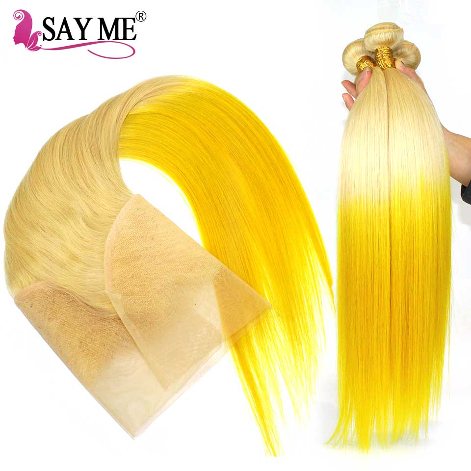 613 Yellow Blonde Bundles With Frontal Straight Human Hair Bundles With Frontal Remy Ombre Peruvian Hair