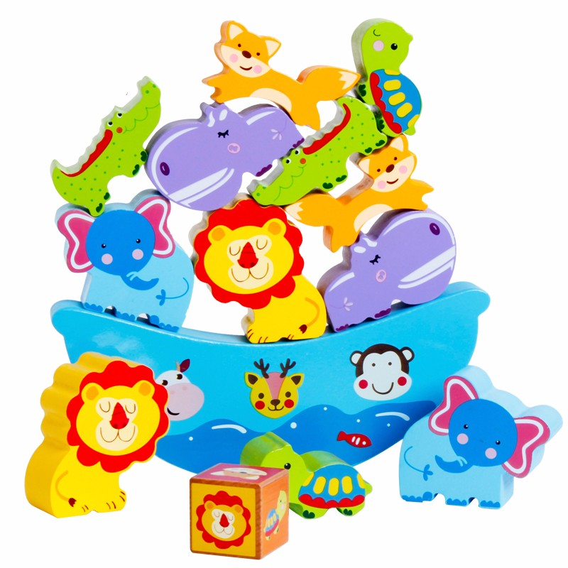 Cartoon Blocks Montessori Baby Kids Toys Animal Balance Colorful Learning Educational Preschool Training Brinquedos Juguets
