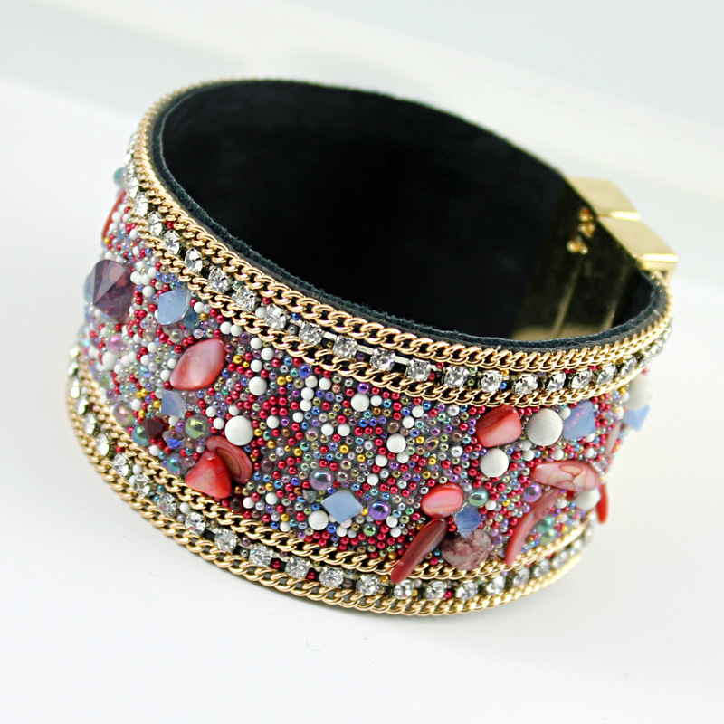 Magnetic jewelry fashion women leather bangle bracelet