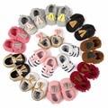 2016 Nuevo parche de la Marca patrón PU Cuero Newborn Infant Toddler Kid Primeros Caminante Arco Bebé Mocasines de suela Suave vestido de las muchachas zapatos