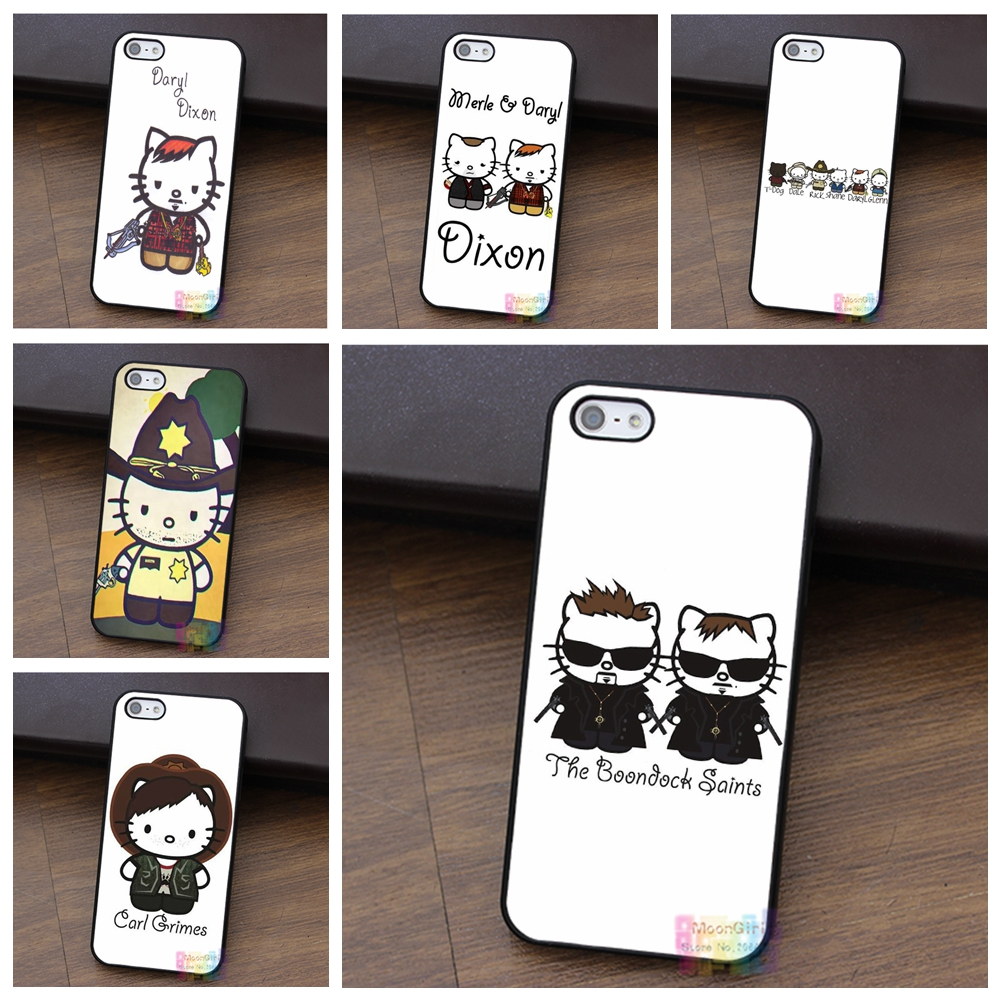 Daryl Dixon Hello Kitty 6 fashion cell phone case for iphone 4 4s 5 5s 5c SE 6 6s 6 plus 6s plus 7 7 plus #qx0274