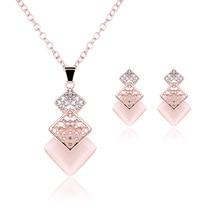2017 Fashion Women Crystal Necklace + Pierced Earrings Set Wedding Party Jewelry Rhinestone Stud Earings Necklace 61 KQS