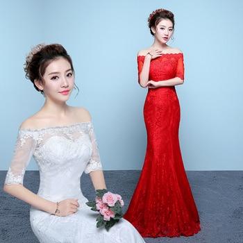 Vestidos de Novia Plus size Half Sleeves Lace South African Mermaid Wedding Dresses wedding gown Robe de Mariee Trouwjurk