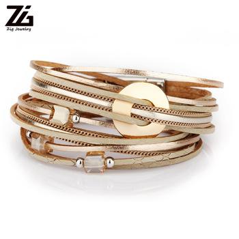 ZG 2019 biżuteria bransoletka damska w 3 kolorach kobiety skórzana długa bransoletka z kryształowymi koralikami i metalowymi charmsami tanie i dobre opinie Charm bransoletki Zinc Alloy Leather Rope Chain Round Other(Other) TRENDY Magnet All Compatible Moda bracelets Brak 39CM