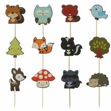 12 قطعة قطاعات الكيك الغابات الحيوان الثعلب البومة الطيور عيد ميلاد سعيد كعكة توبر للطفل دش الاطفال حفلة عيد ميلاد كعكة الزينة
