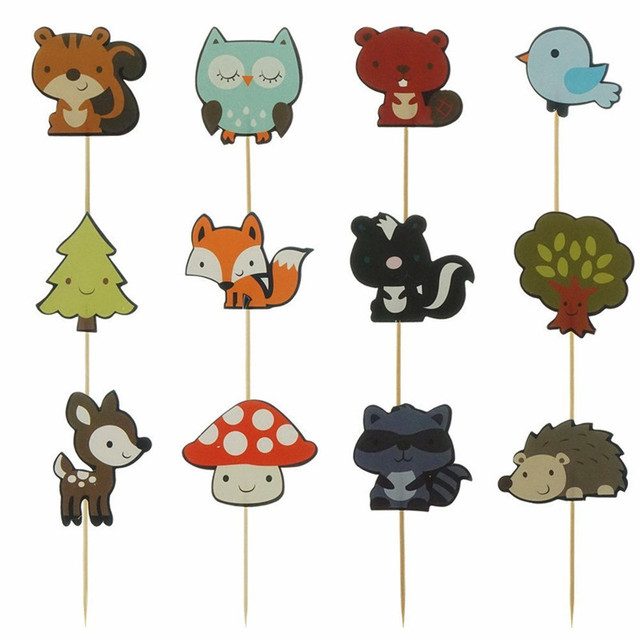 12pcs Forest Animal Cupcake Topper Fox Owl Birds Happy Birthday Cake Topper For Baby Shower Kids Birthday Party Cake Decorations
