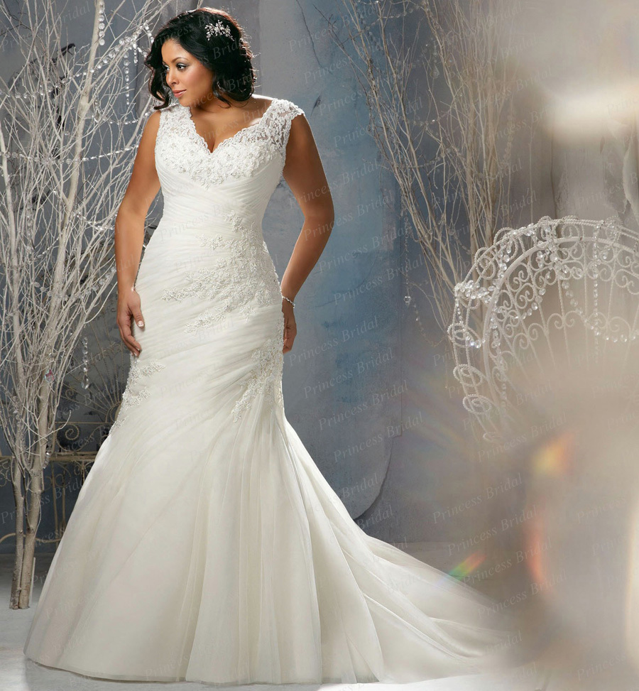 Plus Size Wedding Dresses Mermaid Style With Appliques BT1475 Conew Bt1475 2