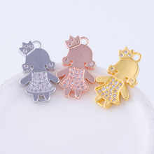 Ali Moda Zirconia Princess Girl Charms Pendants Connectores Accessories Women Mom Bracelets Necklace Earrings Jewelry DIY Making