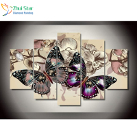 Zhui Star 5D DIY All Square Drill Rhinestones Painting 5pcs Set Butterfly Flowers Decoration Home Diamond