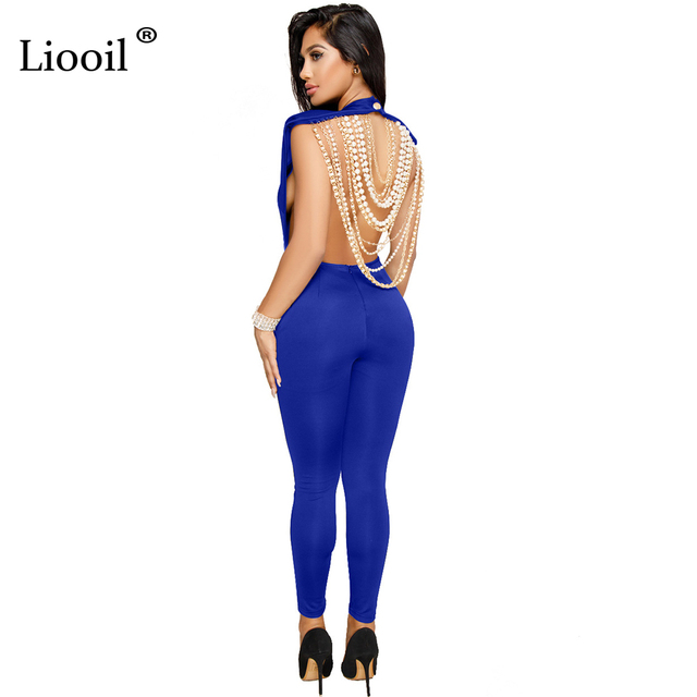 8137906d6e1 Liooil Beaded Chain Rompers Womens Jumpsuit Sexy Backless Sleeveless Bodycon  Overalls Black White Club Party Female Jumpsuits