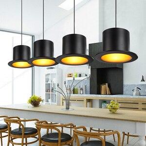 Image 5 - Retro Pendant Lamp Jazz Top Hat Aluminum Pendant Lamp 110v 220v E27 Outside Black Inside Golden Bar Counter Bedroom Cafe Lamp
