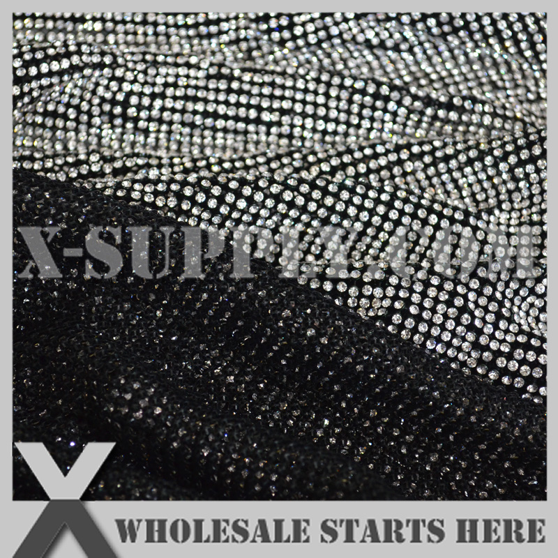 P1 3mm Metal Rhinestone Fabric Mesh Sheet in Black Metal Base Without Iron On Glue,Used For Garment,Collar,Shoes,Table