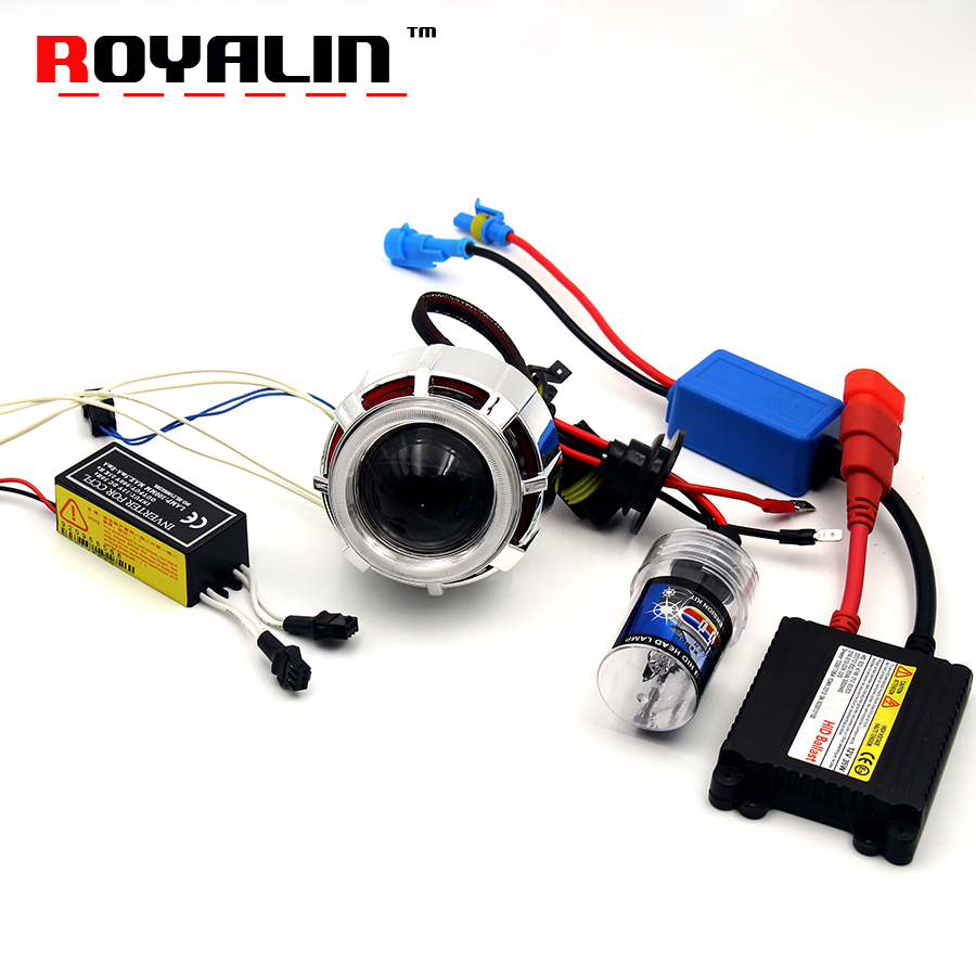 ROYALIN 2.0'' CCFL Double Angel Eyes Projector Lens H1 Xenon Kit for Motorcycle Headlight Auto H4 H7 Lamps Retrofit White Red 2 5 inch h1 h7 9005 9006 bixenon projector lens for motorcycle auto headlight with ccfl angel eyes bule yellow red white purple