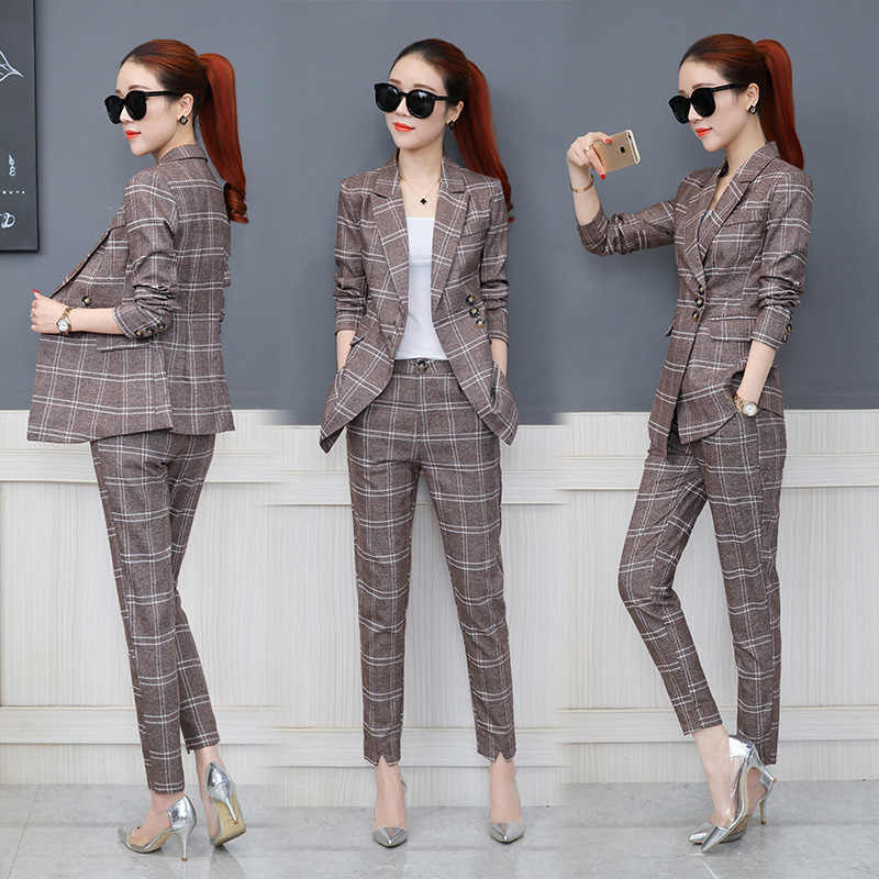 0e3724712939c Spring and Autumn new women's fashion plaid suit suits female Korean ...