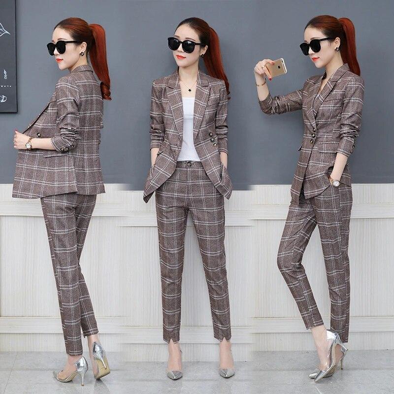costume a carreaux pour femme ensemble deux pieces version coreenne tendance printemps automne