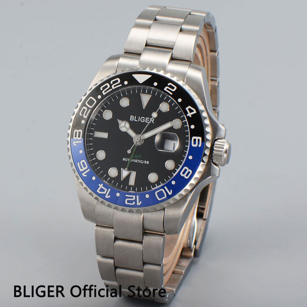 Bliger 43mm Black Dila Sapphire Glass Ceramic bezel Luminous GMT Function Automatic Movement Mens Watch Men Wristwatch B39Bliger 43mm Black Dila Sapphire Glass Ceramic bezel Luminous GMT Function Automatic Movement Mens Watch Men Wristwatch B39