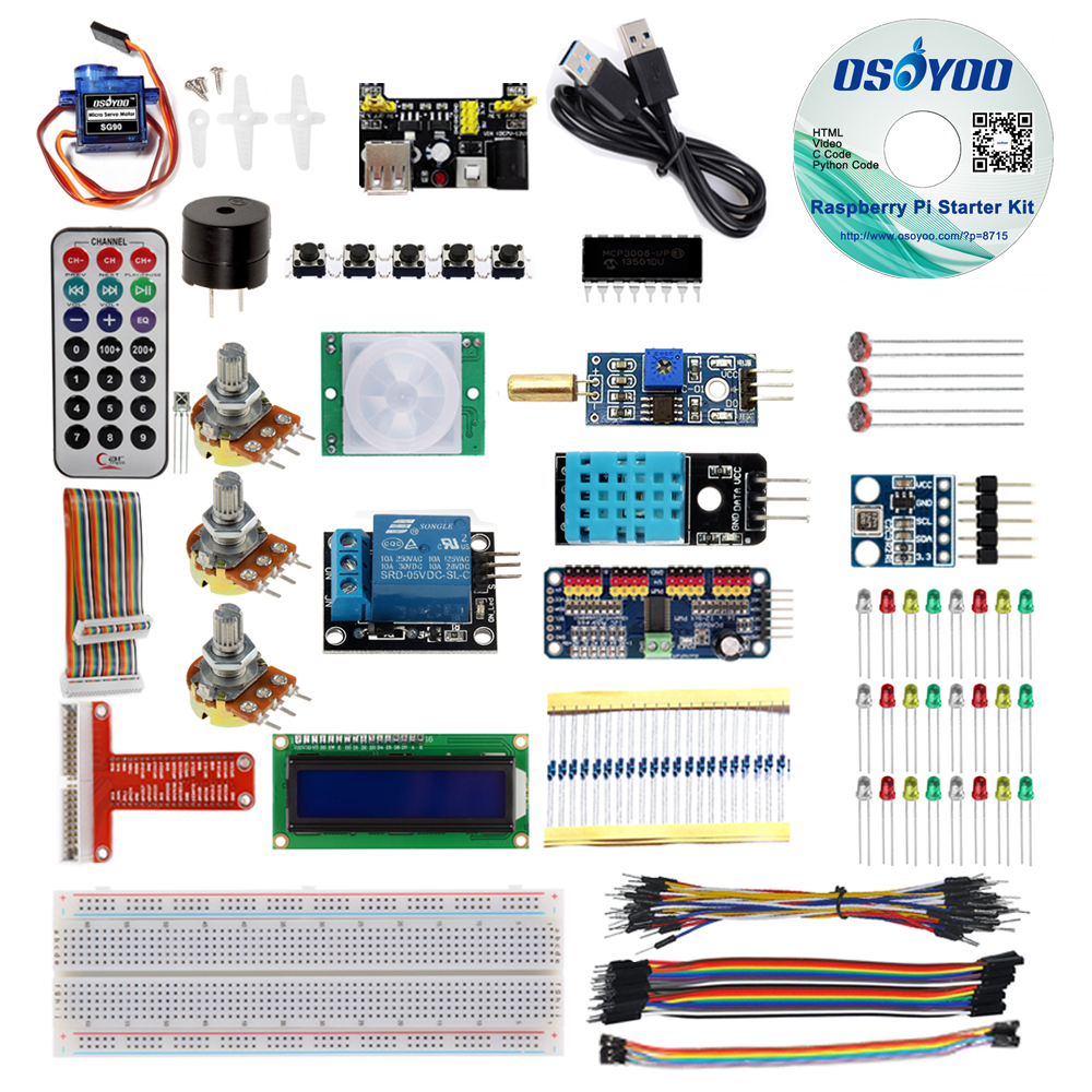 Малина Pi 3 starter kit diy электронные RPI обучения комплект для начинающих Дисплей pca9685 с C/python код и видеоурок