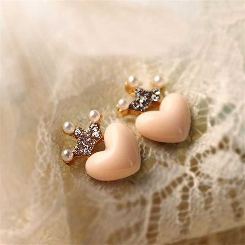E019 new cute Love Crystal Crown Stud earrings Free Shipping Mellow Rose Peach Heart Earrings simulated Pearl